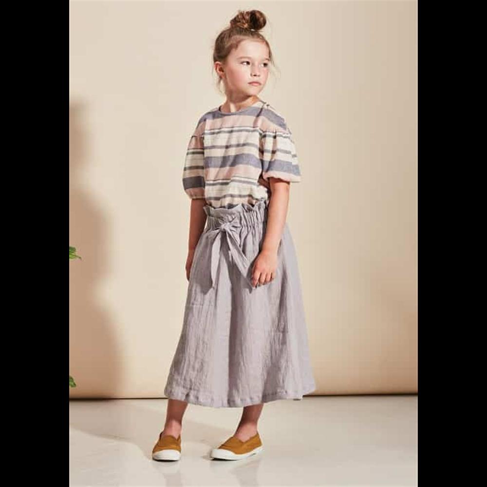 Prelepa bluza sa kratkim puf rukavima od pamuka na prugice za devojčice