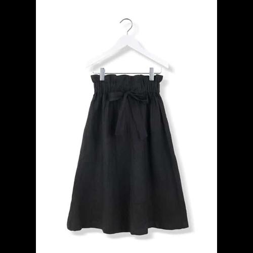 Suknja od lana crne boje  sa visokim strukom