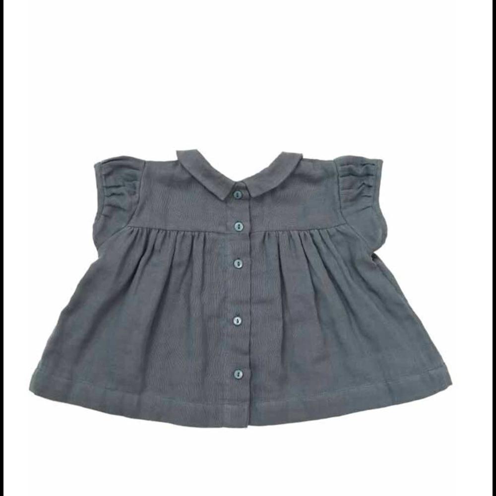 Prelepa bluza sa bubi kragnicom od plavog muslina za devojčice
