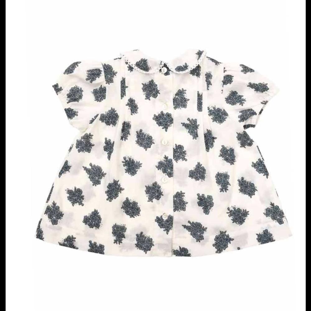 Prelepa bluza sa bubi kragnicom za devojčice kratak rukav sa plavim cvetovima