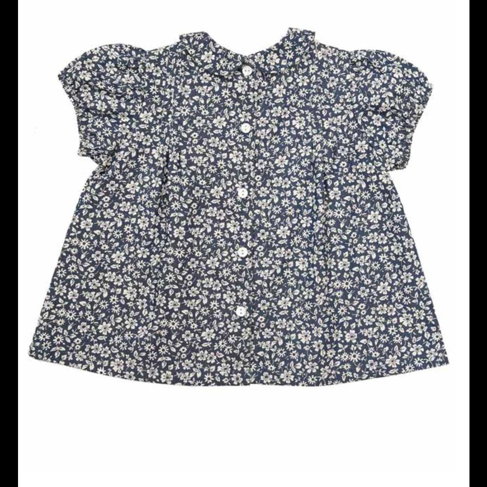 Prelepa bluza sa bubi kragnicom za devojčice plave boje sa sitnim belim cvetićima