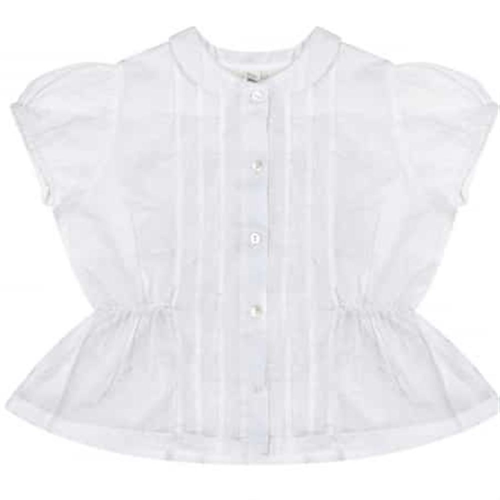 Romantična bela bluza sa bubi kragnicom za devojčice  sa kratkim puf rukavima/ lagana