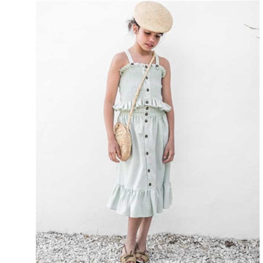 Top i suknja komplet  za devojčice akvamarin boja