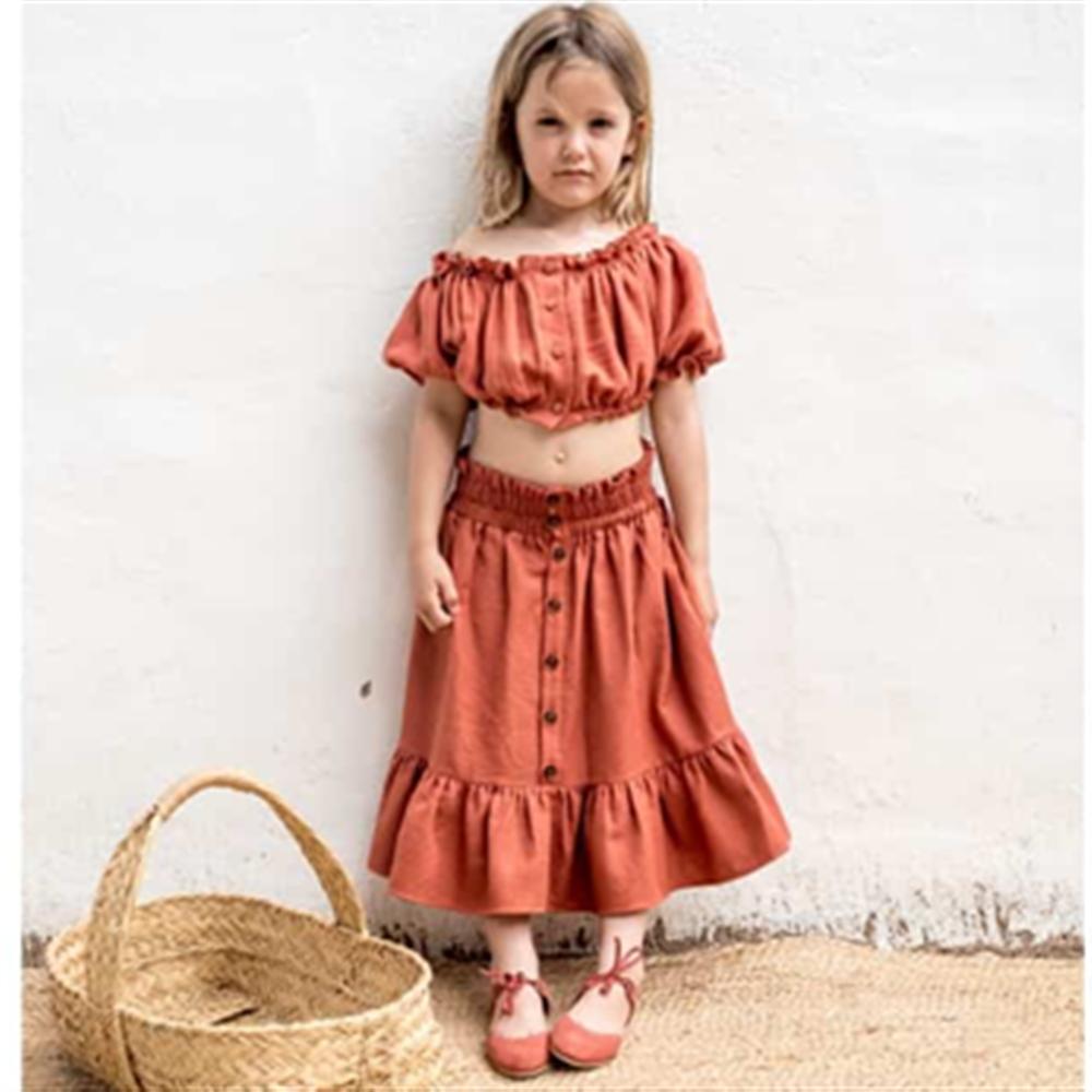 Top i suknja komplet za devojčice od organskog pamuka terakot boje