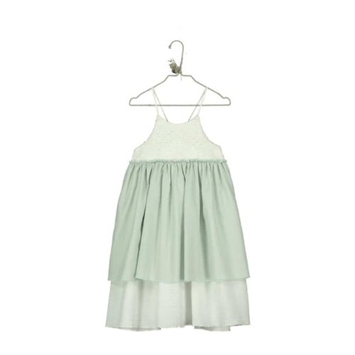 Haljina za devojčice od organskog pamuka i vezenim gornjim delom u kombinaciji bele i bledo zelene boje