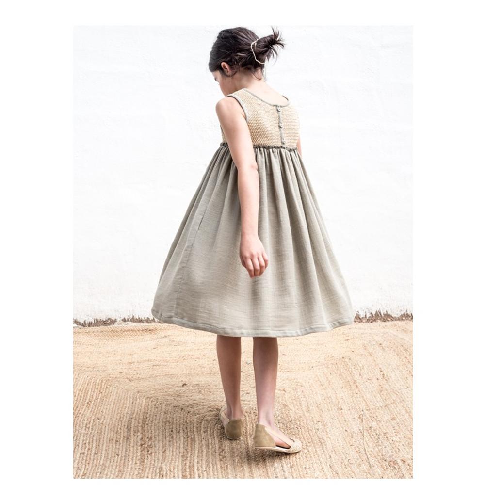 Haljina za devojčice od organskog pamuka i gornjim delom od rafije