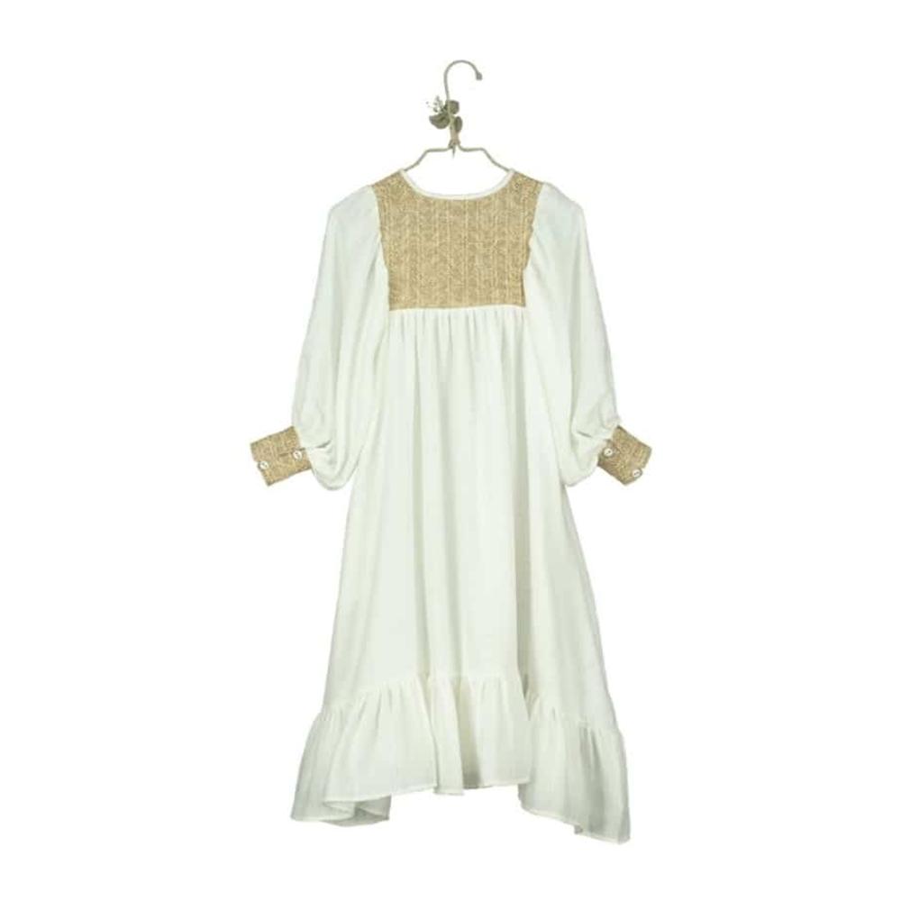 Duga romantična haljina od organskog pamuka bele boje i rafije-POSLEDNJI KOMAD