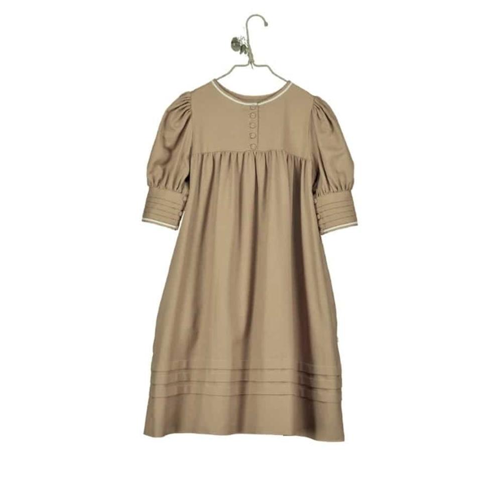 Braon haljina od organskog pamuka sa puf rukavima dužine 3/4 za sva godišnja doba