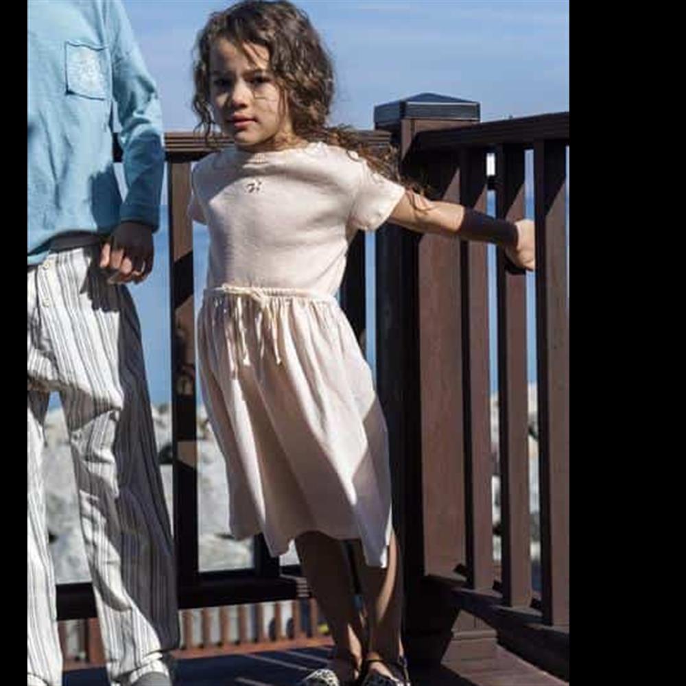 Bela haljina sa kratkim rukavima od organskog pamuka-POSLEDNJI KOMAD