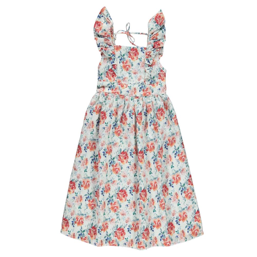 Letnja haljina, cvetni dezen,  sa karnerima napred i golim ledjima, od lana