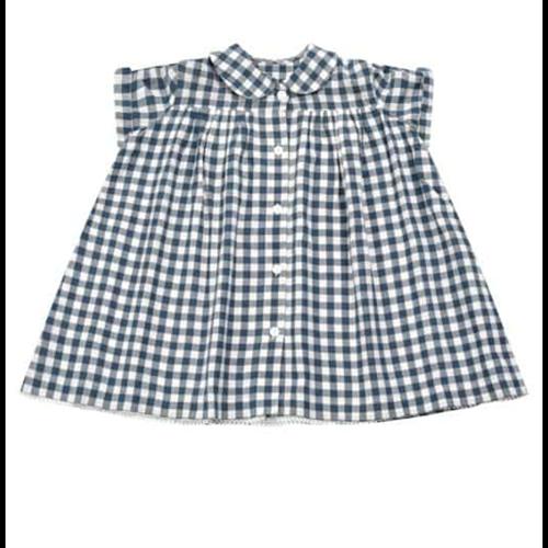 Haljina belo plavi ginghajm uzorak romantična sa bubi kragnicom pamuk 100%