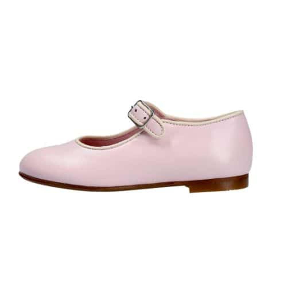 Kožne Mary Jane baletanke svetlo roze boje sa bež paspulom