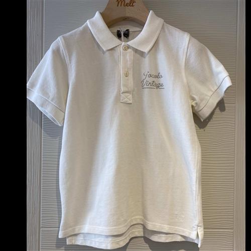 Polo majica bele boje, kratak rukav/ za dečake od organskog pamuka