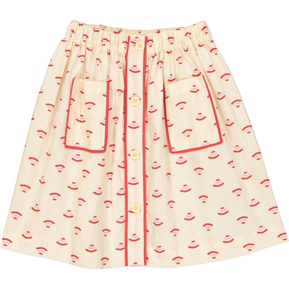 Suknjica bela sa crveno roze printom za leto