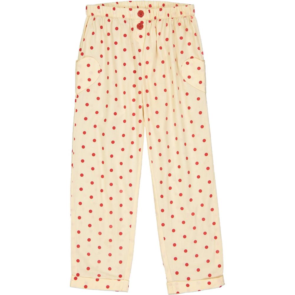 Bele pamučne pantalone sa crvenim tufnicama letnje-POSLEDNJI KOMAD