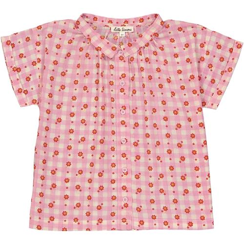 Košuljica kratkih rukava za devojčice roze boje sa cvetićima
