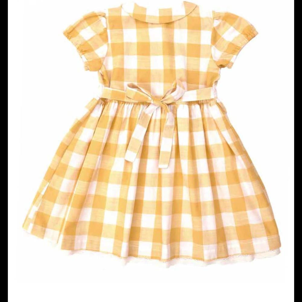 Letnja haljinica na belo/žute kockice, romantična sa vezivanjem pozadi i kratkim rukavima