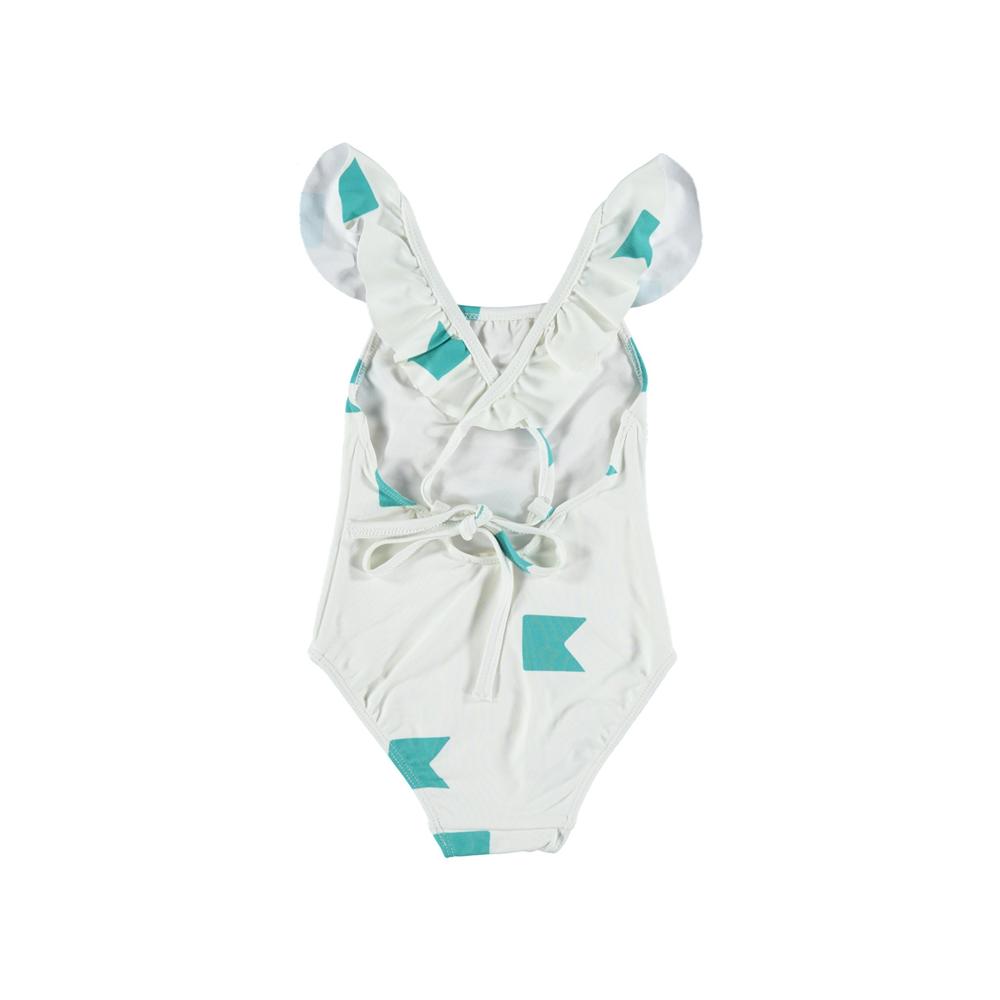 Kupaći kostim iz jednog dela beli sa stilizovanim zelenim zastavicama