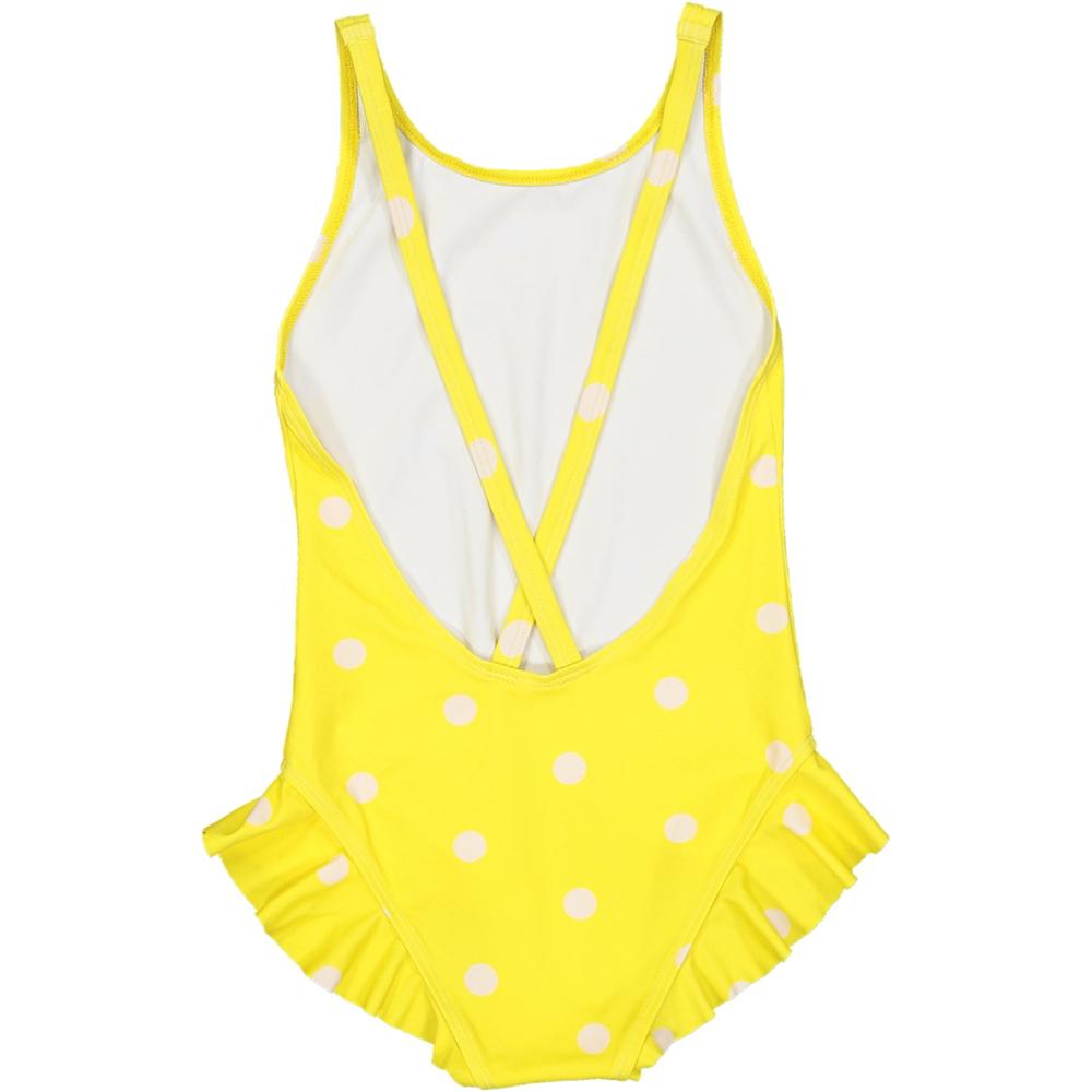 Kupaći kostim iz jednog dela žuti sa belim tufnama
