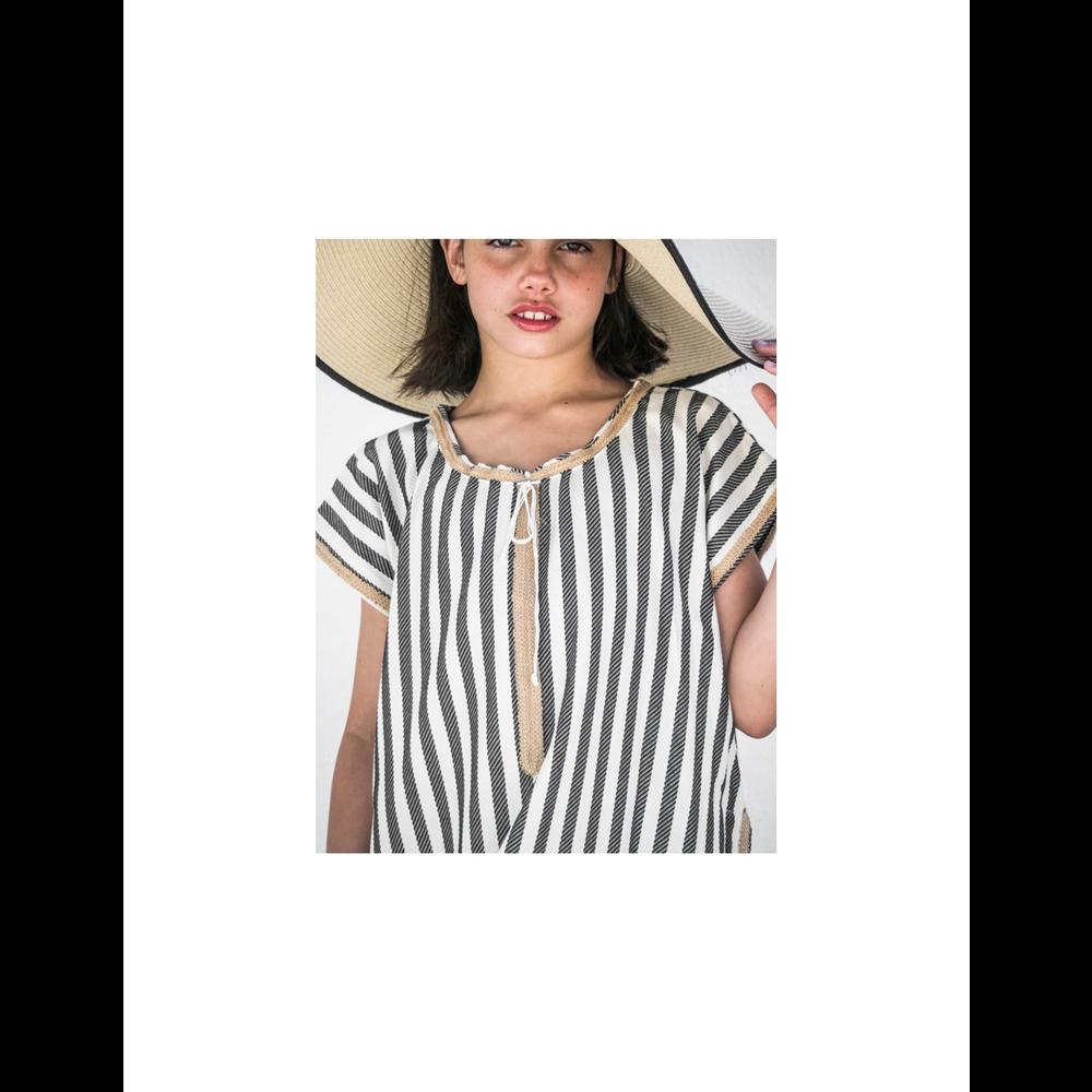 Haljina kaftan za devojčice od organskog pamuka na crno bele pruge