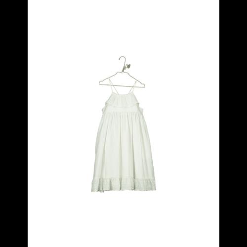 Romantična haljina bele boje na bretele od organskog pamuka/duga