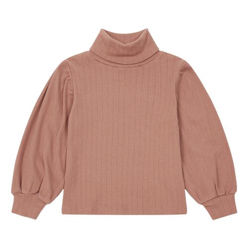 Boja prljavo roze/majica pamučna  sa rol kragnom i sa puf dugim rukavima za devojčice