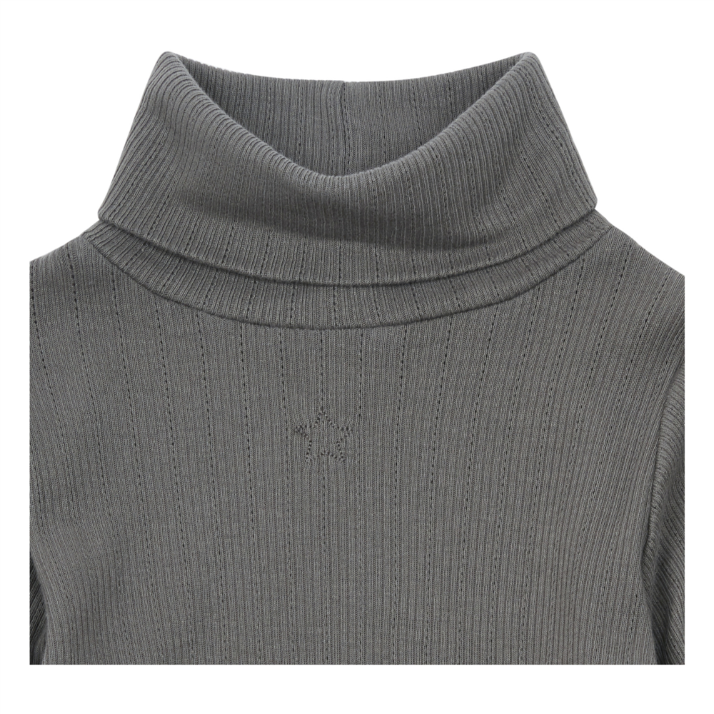 Boja siva /majica pamučna sa rol kragnom i sa puf dugim rukavima za devojčice