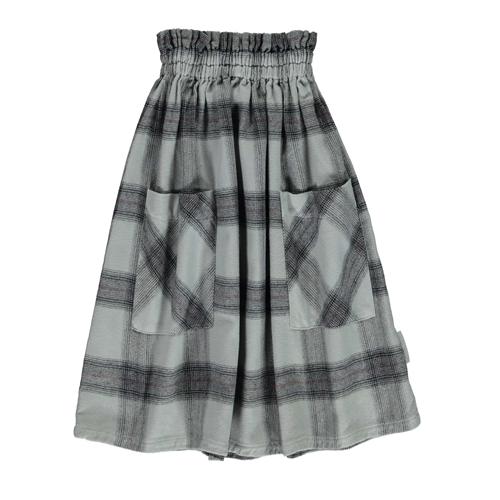 Dugačka suknja od mekanog sivog kariranog flanela