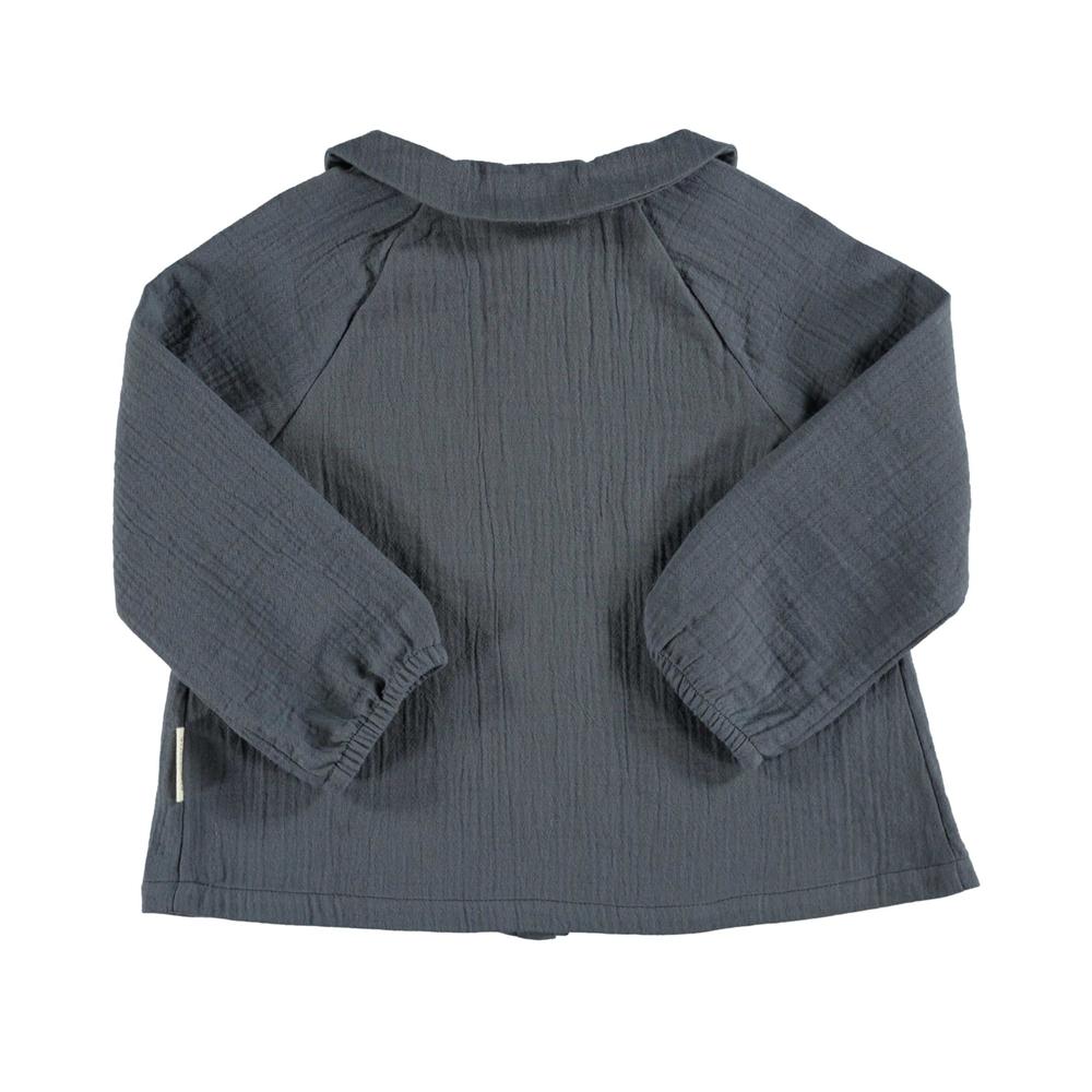 Bluzica od pamuka sive boje sa bubi kragnom