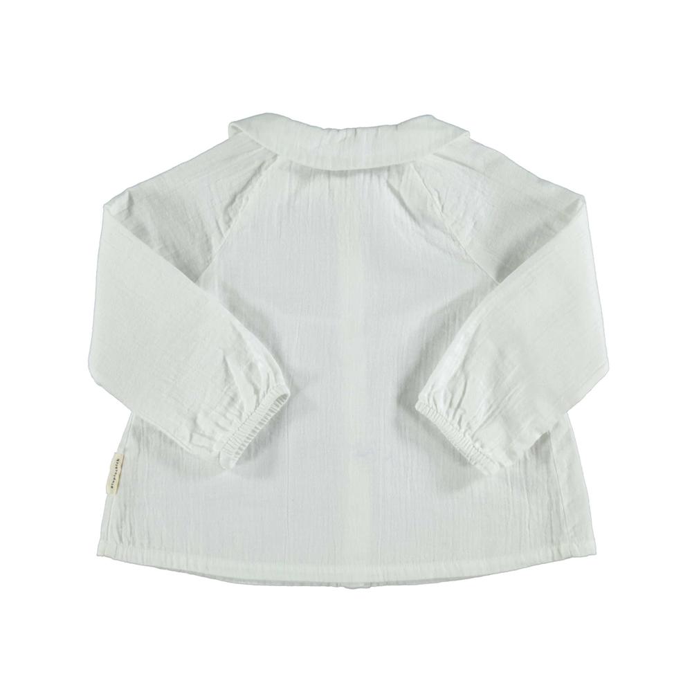 Bluzica od pamuka bele boje sa bubi kragnom