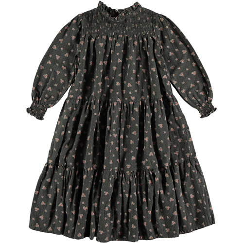 Cvetna haljinica, romantična,sive boje sa sitnim rozikastim cvetićima, dugačka i sa dugim rukavima