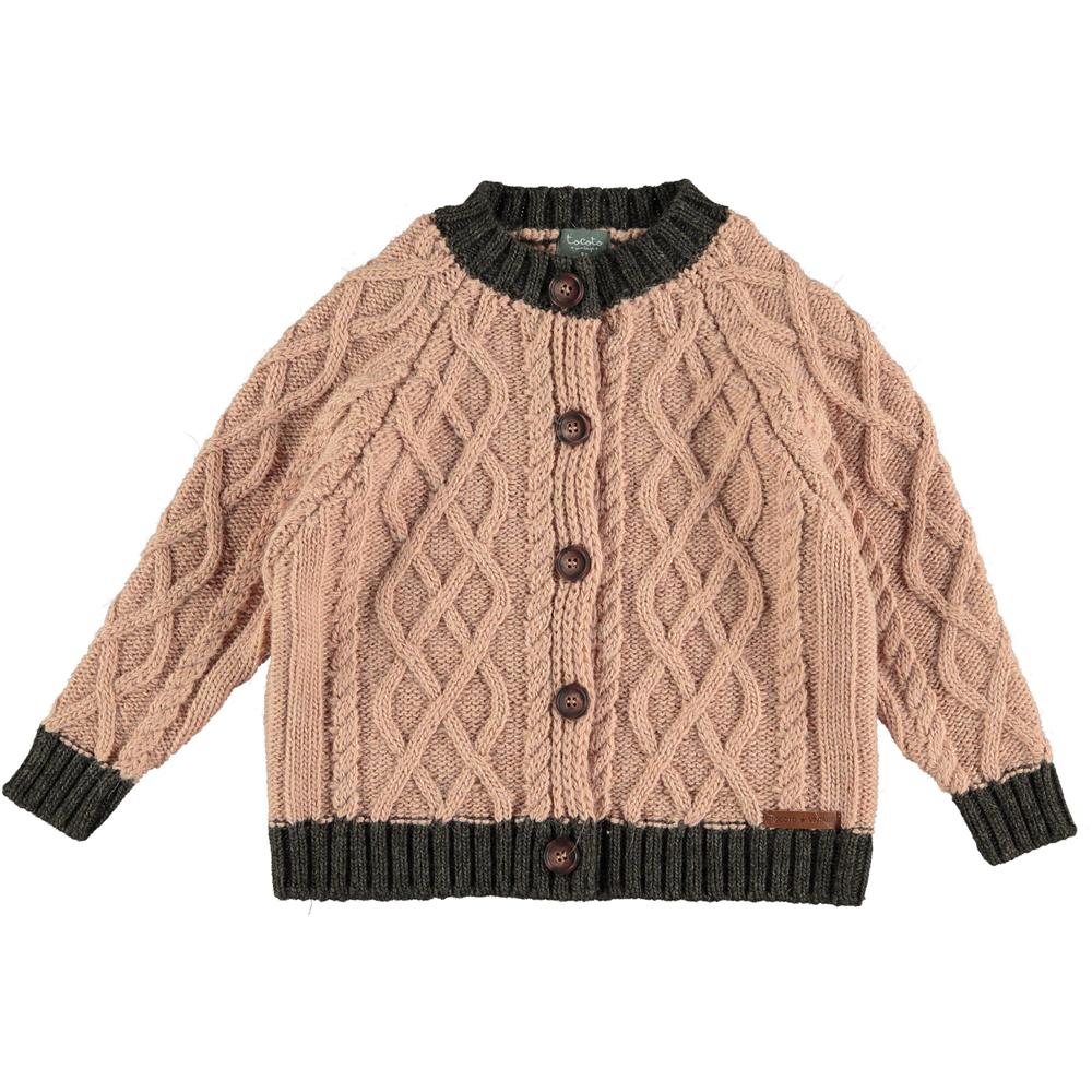 Džemper na kopčanje roze sa braon detaljima za devojčice-od deblje vune/može da posluži i kao jaknica