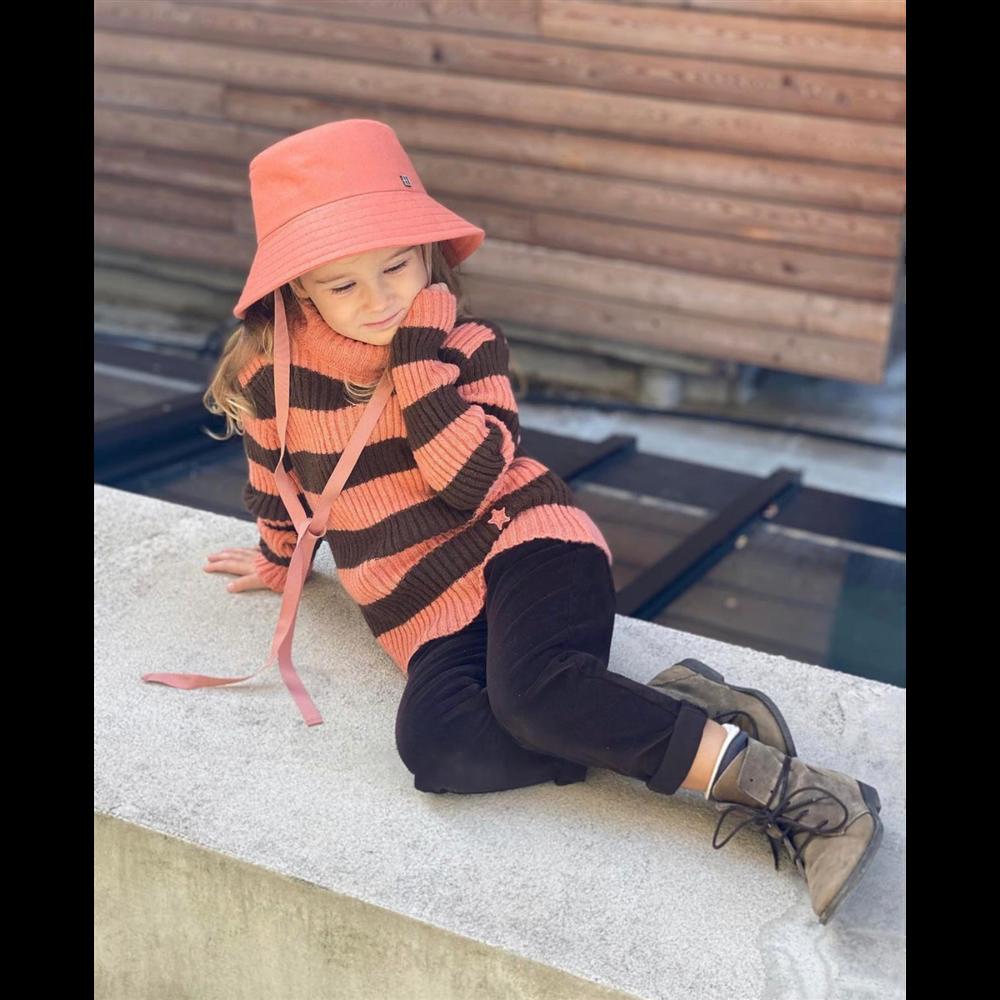 Džemper tanji sa rol kragnom za devojčice na pruge