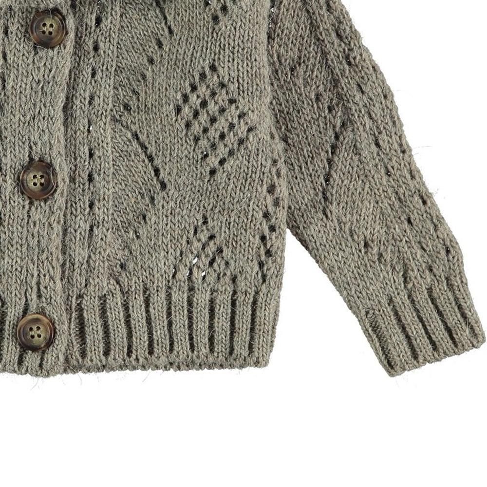 Džemper na kopčanje sivi sa romantičnom kragnom/deblja vuna/može i kao jaknica za početak jeseni