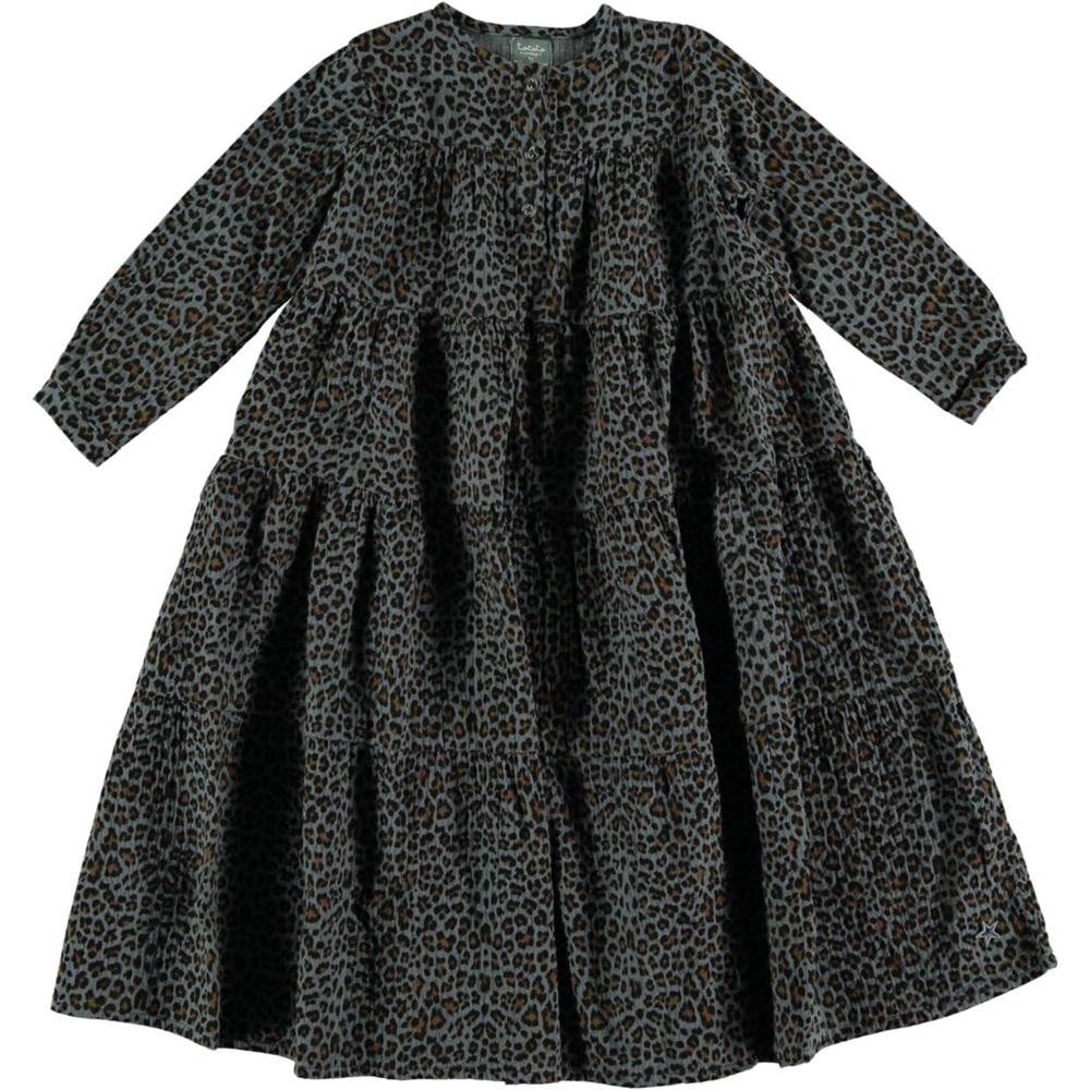 Crno siva haljina tigrastog uzorka, dugačka i romantična, dug rukav