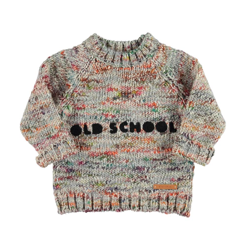 Džemper uniseks od melirane vune sa natpisom OLDSHCOOL