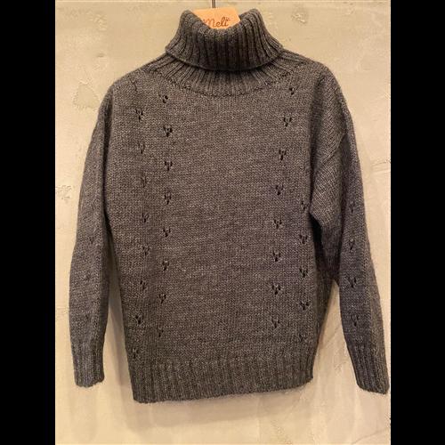 Džemper za devojčice sa rol kragnom grafitne boje-POSLEDNJI KOMAD