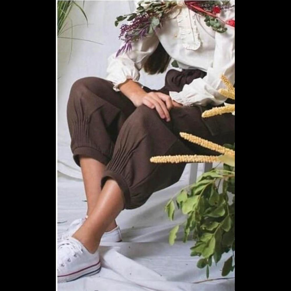 Braon tamna boja/kargo pantalone od organskog pamuka za devojčice