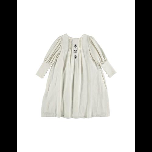 Bež prelepa haljina od organskog pamuka sa vezom