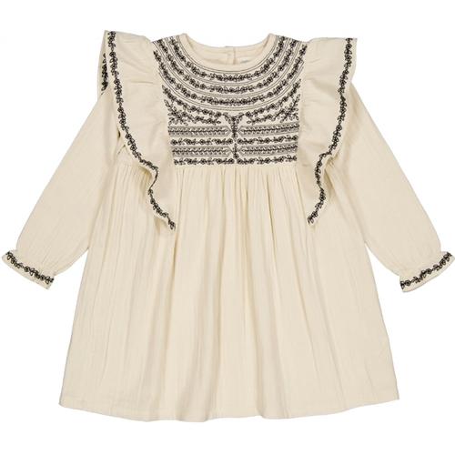 Bela haljina od duple pamučne tkanine sa vezom idealna ya jesenje dane