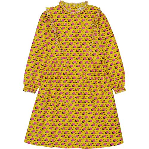 Cvetna haljinica žuta sa rozikastim cvetićima izuzetnog kroja dug rukav