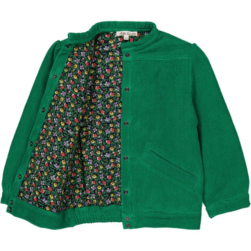 Cvetna sa jedne strane i zeleni somot sa druge strane čini ovu jaknu sa dva lica idealnom za jesen i zimu/ jakna sa dva lica za devojčice