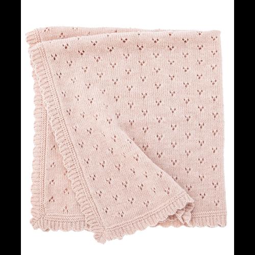 Ćebence sa radom nežno roze boje od vune za bebe