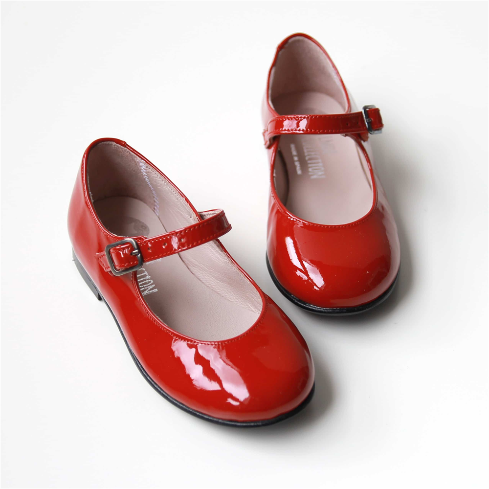 Kožne lakovane crvene Mary Jane baletanke