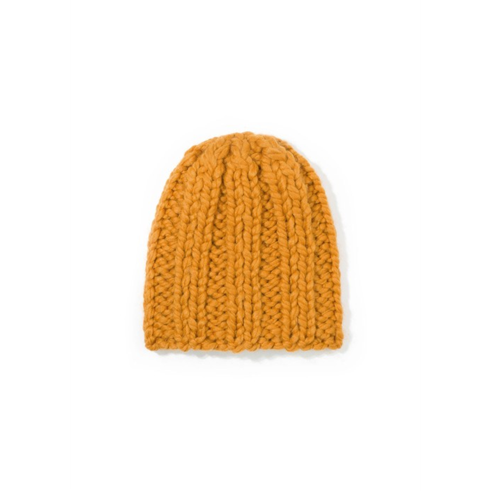 Kapa vunena ručni rad boje senfa