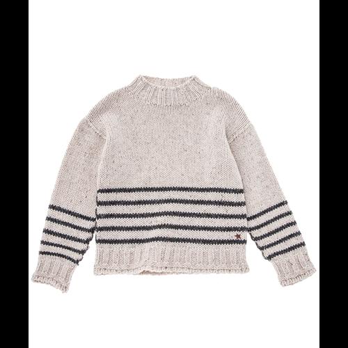 Džemper svetlo sivi sa prugicama retro izgleda