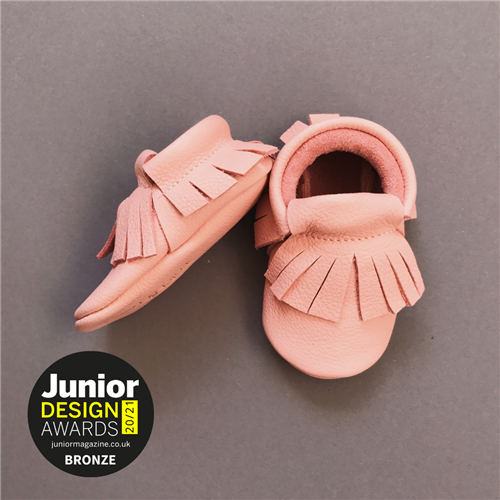 Mokasine za bebe od organski obradjene kože roze boje