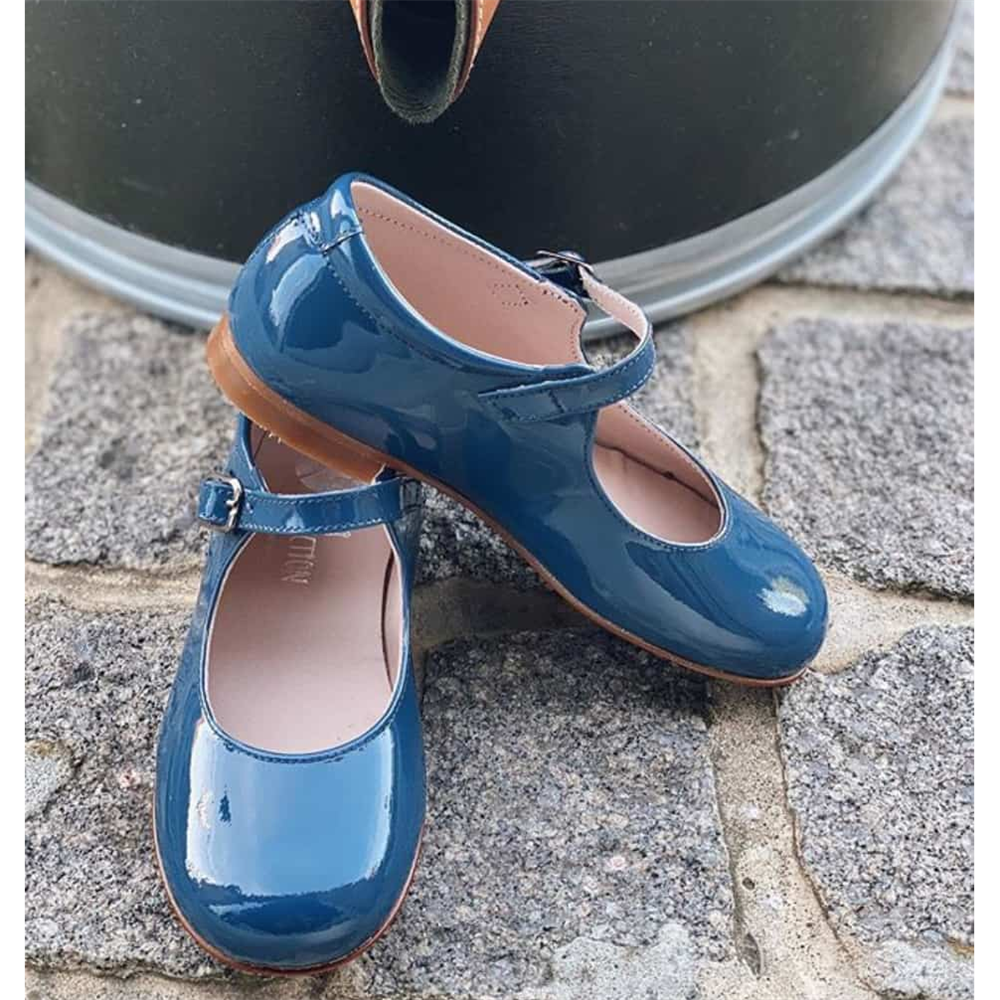 Kožne lakovane plave Mary Jane baletanke