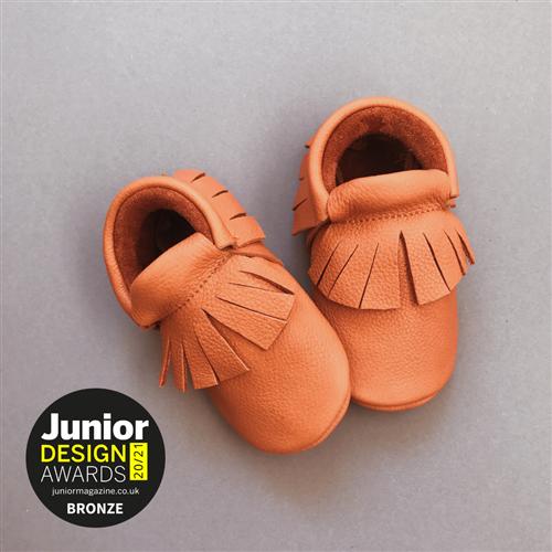 Mokasine za bebe od organski obradjene kože braon boje