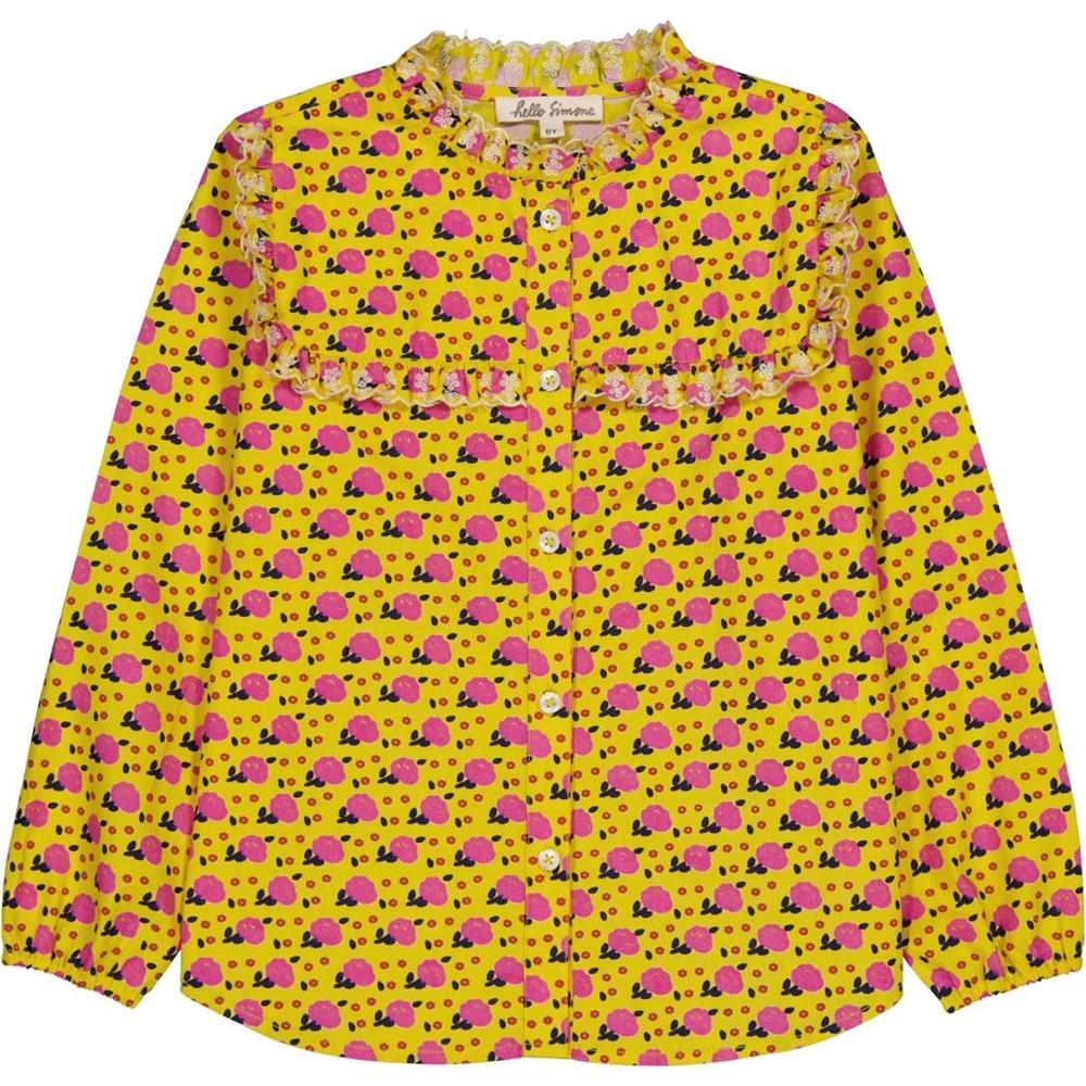 Cvetna košuljica žuta sa sitnim cvetićima i karnerom dug rukav